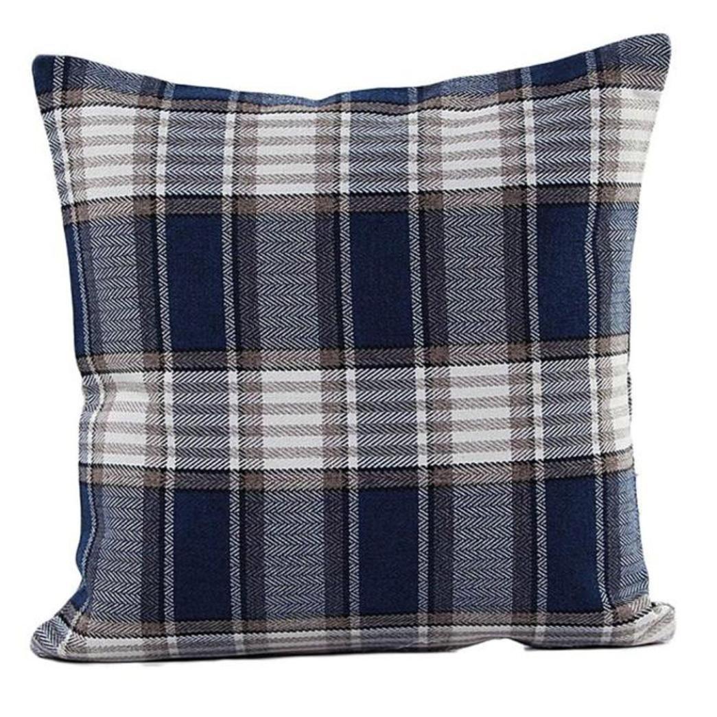 Leyorie Lattice Pillowcase Sofa Bed Home Decorative Pillow Case Retro Square Throw Cushion Cover (Navy)