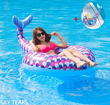 SKY TEARS Cola de Sirena Flotador Hinchable para Piscina ...