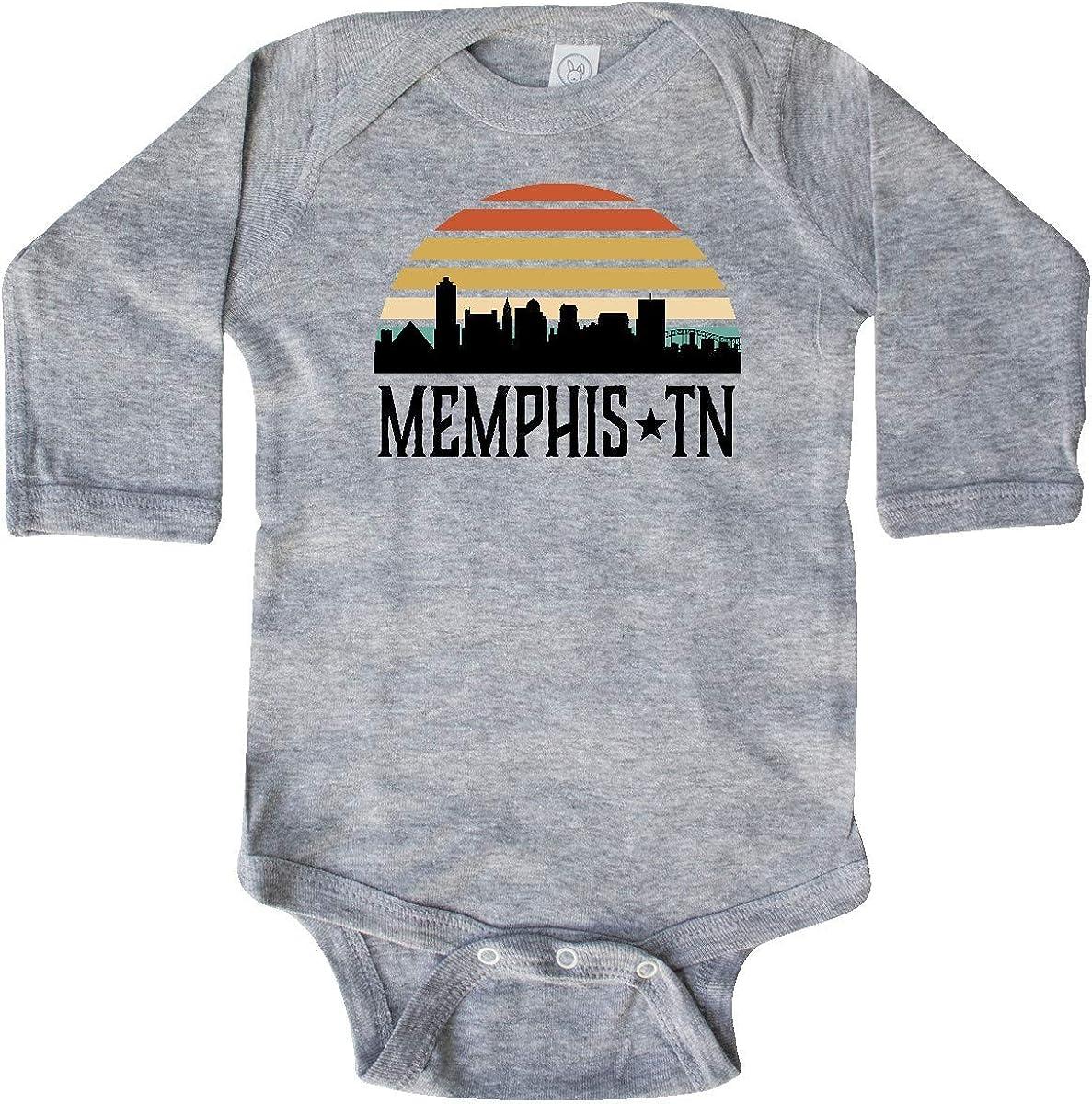 inktastic Memphis Tennessee Skyline Retro Sunset Long Sleeve Creeper
