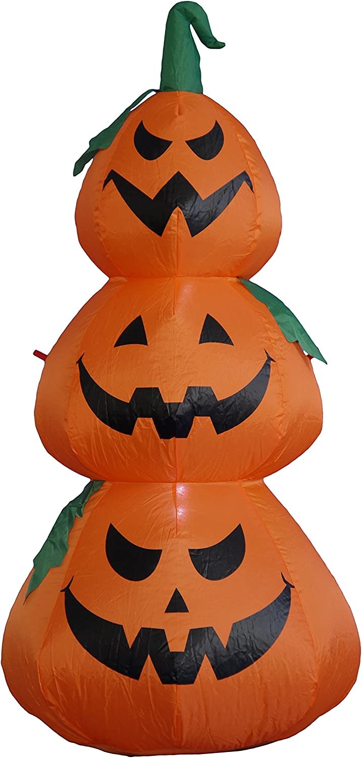 BZB Goods 4 Foot Tall Halloween Inflatable Stacked Pumpkins Garden LED Lights Decor Outdoor Indoor Holiday Decorations, Blow up Lighted Yard Decor, Giant Lawn Inflatables Home Family Outside