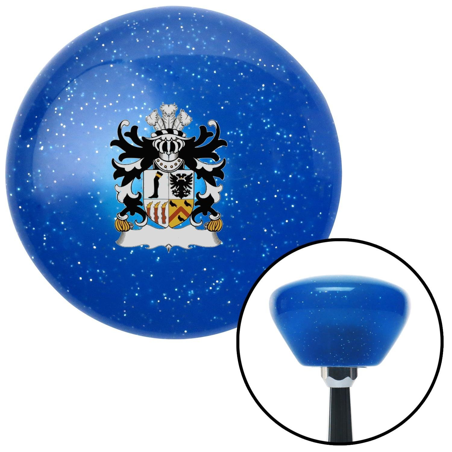 Roystonlodge Coat of Arms American Shifter 192516 Blue Retro Metal Flake Shift Knob with M16 x 1.5 Insert