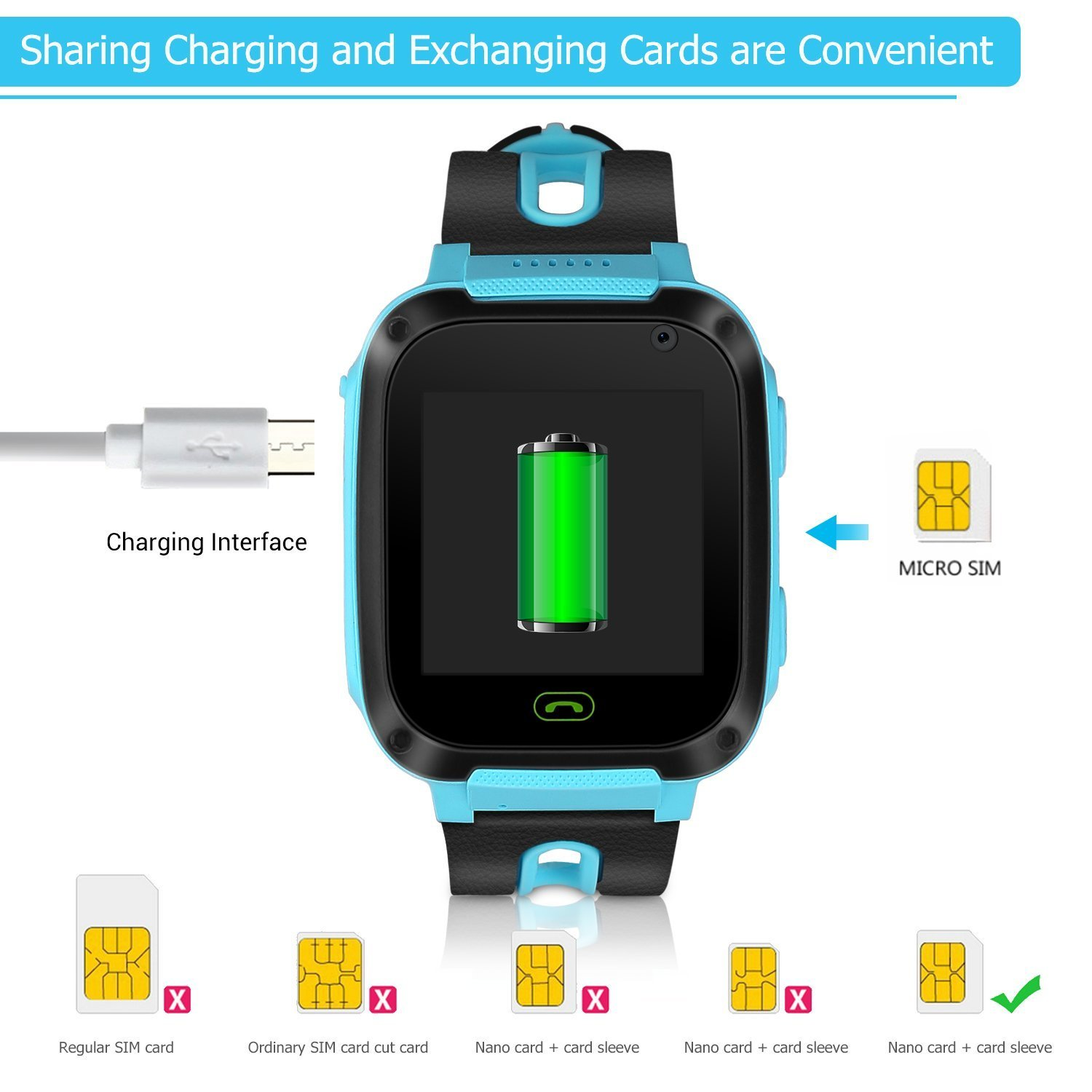 Kids Smart Watch Phone - Kids GPS Tracker Smartwatch for Girls Boys with Mobile Phone SOS Anti-lost Camera Game Touch Screen Children Outdoor Digital Wrist Watch Bracelet for Summer Holiday Gift by Kidaily (Image #6)