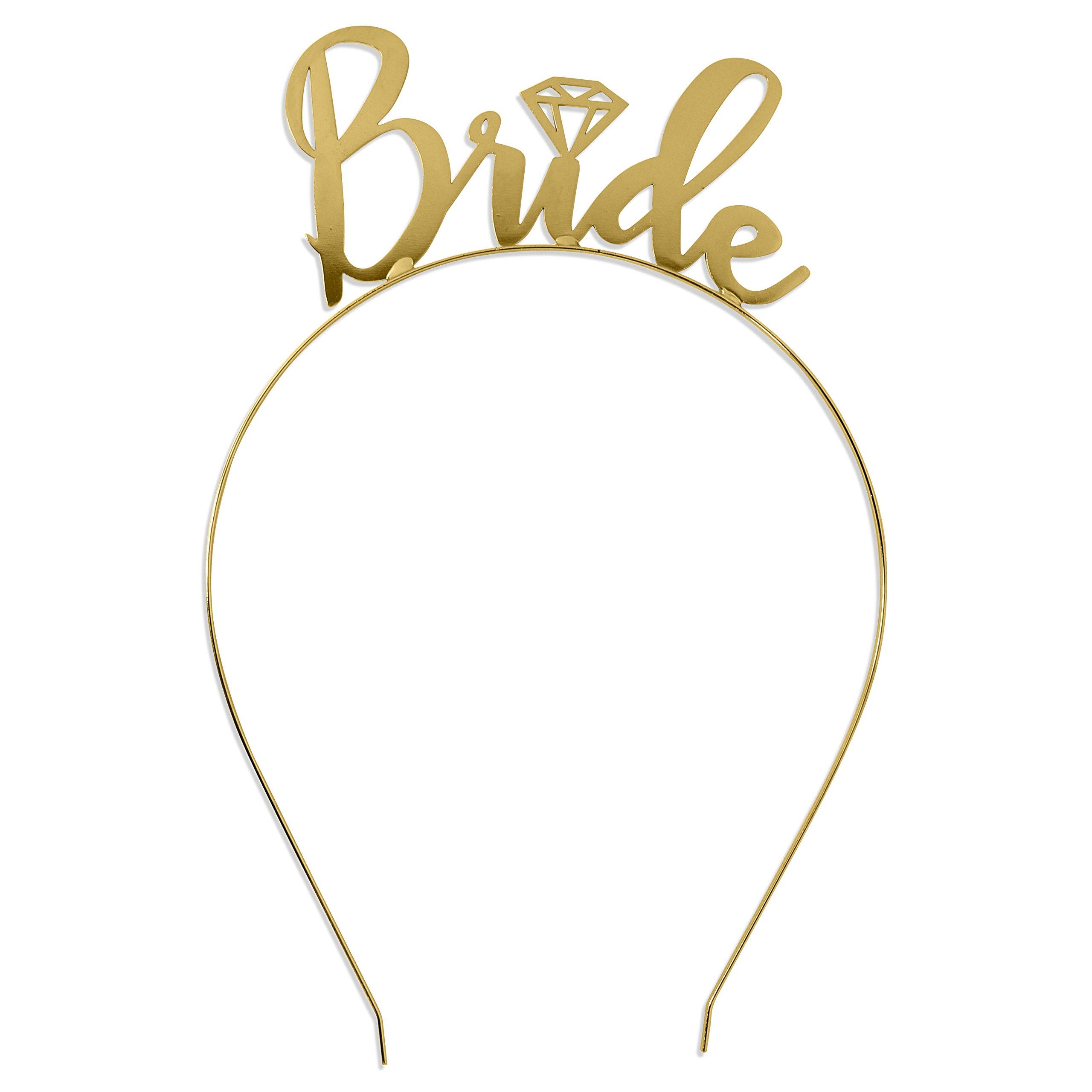 Bride Headband Bachelorette Party Gold - Bridal Shower Tiara Headband HdBd(Bride) GLD