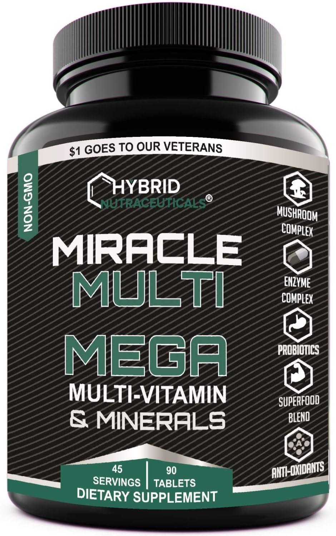 MEGA Multi Vitamins Minerals Blend, Daily Multivitamin Mineral Supplement, Probiotics, Superfood Digestive Enzyme Blend, Mushroom Complex, for Heart, Immune Support, Stamina, Energy (90 Tabs)