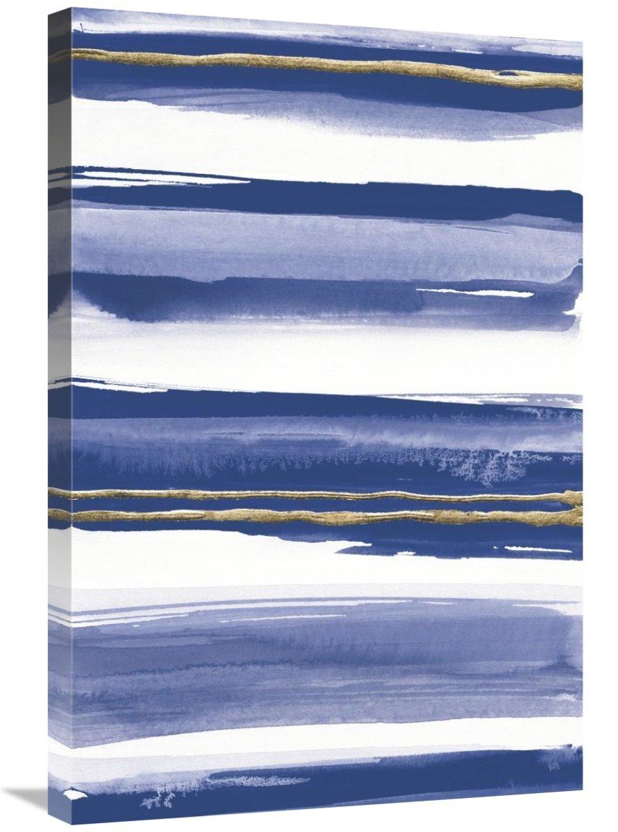 Global Gallery Chris Paschke Gilded Grey IV Indigo and White Canvas Artwork 20 x 30