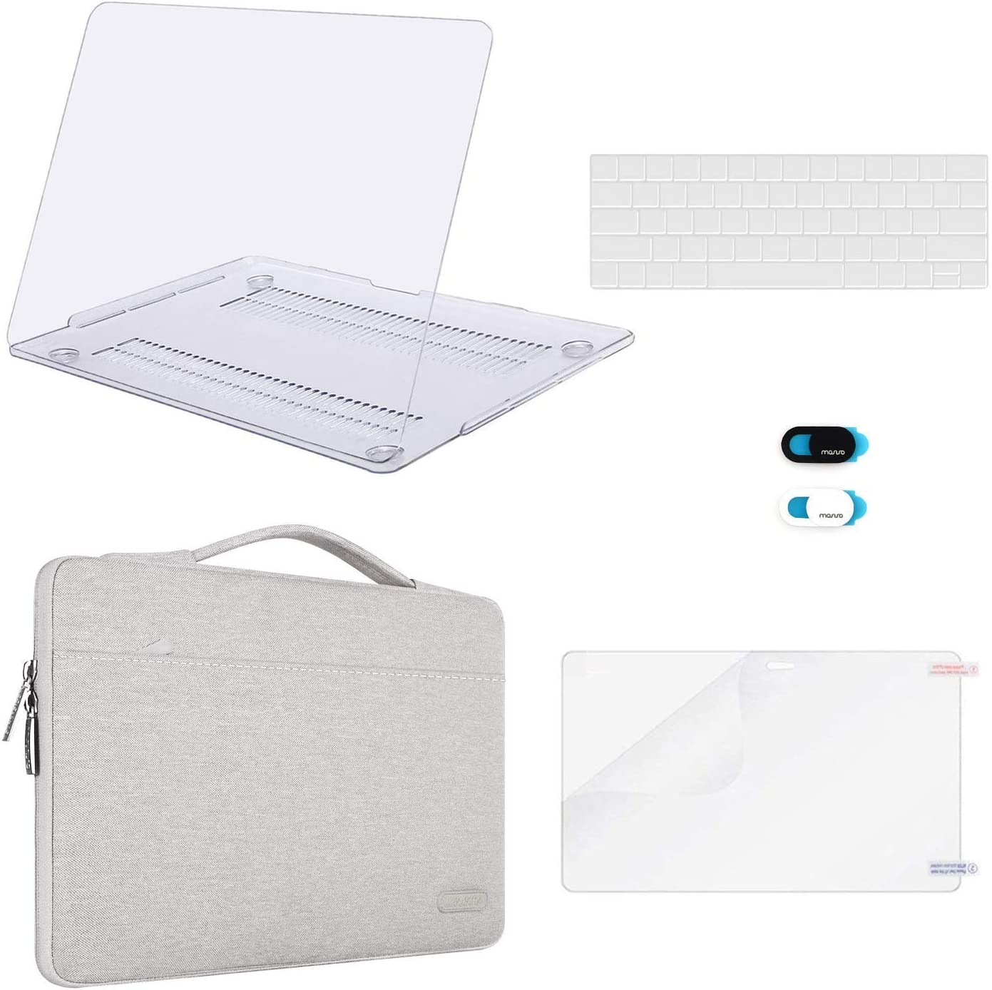 MOSISO Compatible with MacBook Pro 13 inch Case 2019 2018 2017 2016 Release A2159 A1989 A1706 A1708, Plastic Hard Shell Case&Sleeve Bag&Keyboard Skin&Webcam Cover&Screen Protector, Clear&Gray