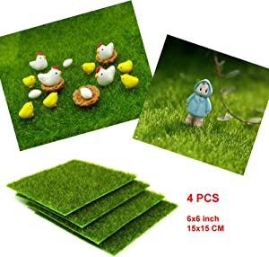 EMiEN 6''x6''Life-like Artificial Grass Lawn Miniature Ornament for for DIY Fairy Garden Dollhouse Decoration (4 Pack)