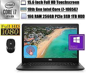 "2020 Premium Dell Inspiron 15 3000 3593 Business Laptop I 10th Gen Intel 4-Core i7-1065G7 I 15.6"" FHD Touchscreen I 16GB DDR4 256GB PCIe SSD 1TB HDD I MaxxAudio WiFi Win 10 Pro + iCarp Wireless Mouse"