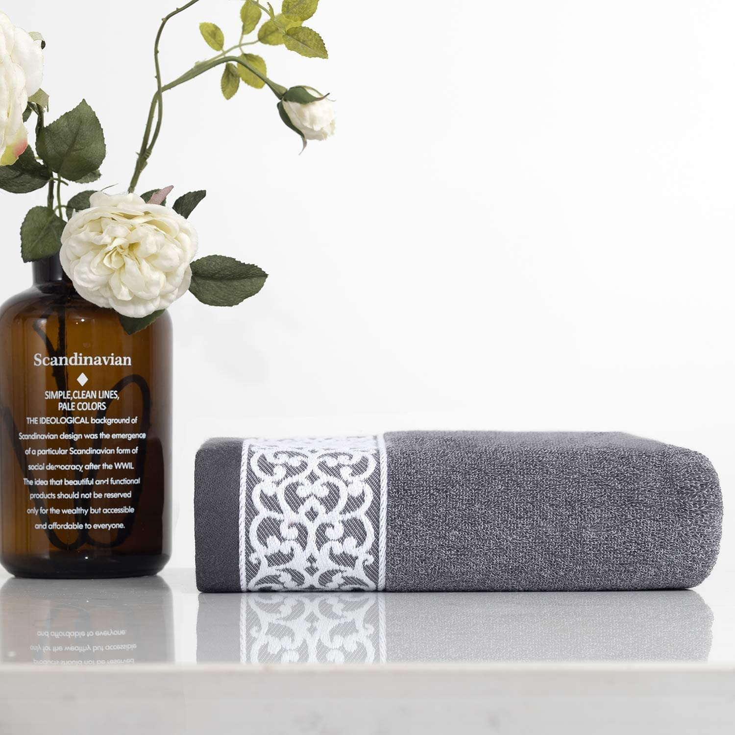 Lvse 1 Pack Luxury Euro Decorative Bath Towel Gray 100% Nature Cotton 70x140cm Light Weight 392 GSM Fluffy Soft and Absorbently for Bathroom Daily ( 70x140cm,400g, Gray): Kitchen & Dining