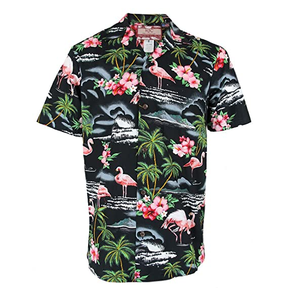 ee38862d6 Robert J. Clancey Mens Authentic Hawaiian Flamingo Shirt: Amazon.co.uk:  Clothing