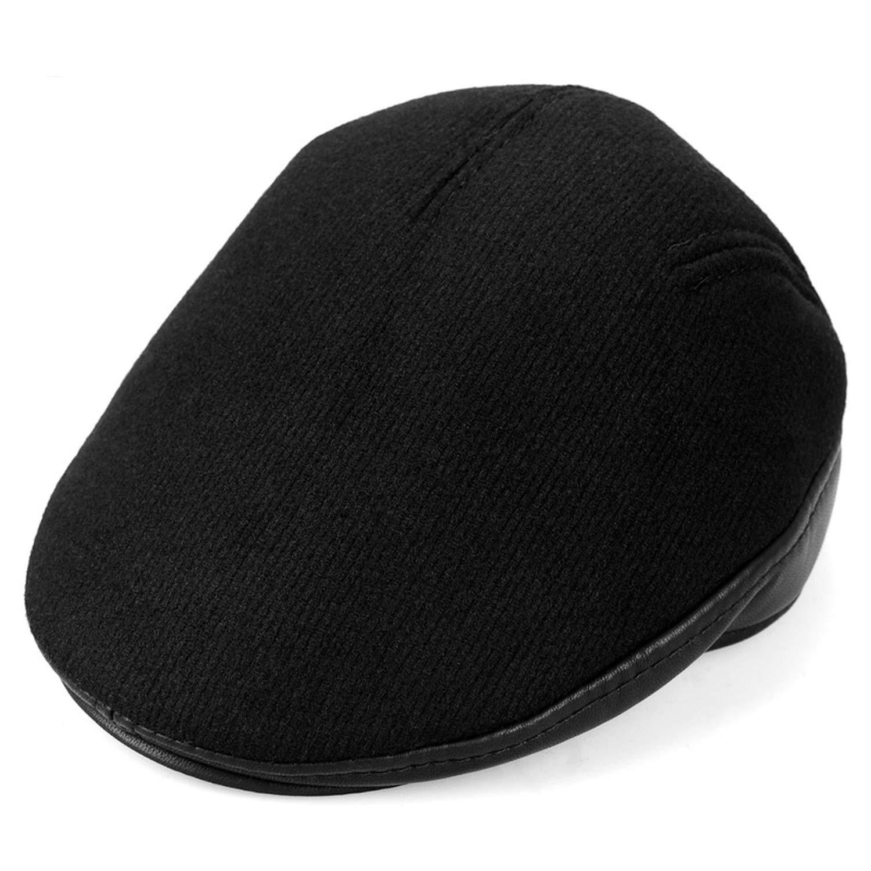 28c75070f885c4 Men Windproof Beret Hat with Ear Flaps Woolen Blend Ear Warmer Men Berets  Winter Warm Fleece Lining Peaked Cap at Amazon Men's Clothing store: