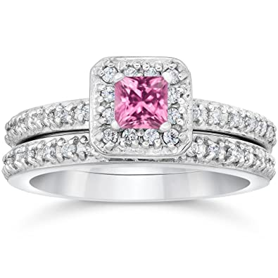 princess cut pink sapphire 1 13ct pave vintage diamond ring set 14k white gold - Pink Wedding Ring Set