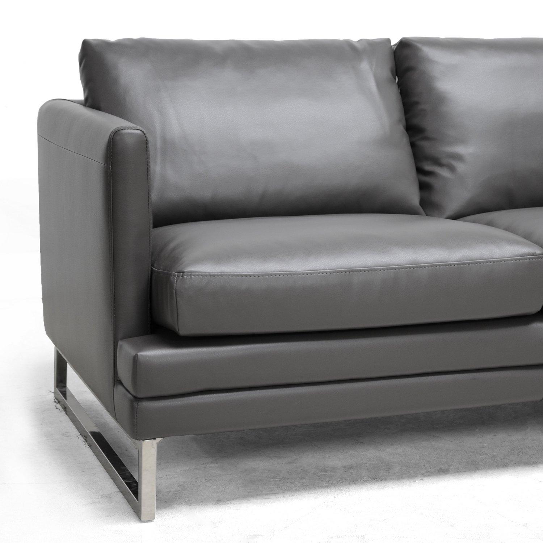 Amazoncom Baxton Studio Dakota Leather Modern Sofa Pewter Gray