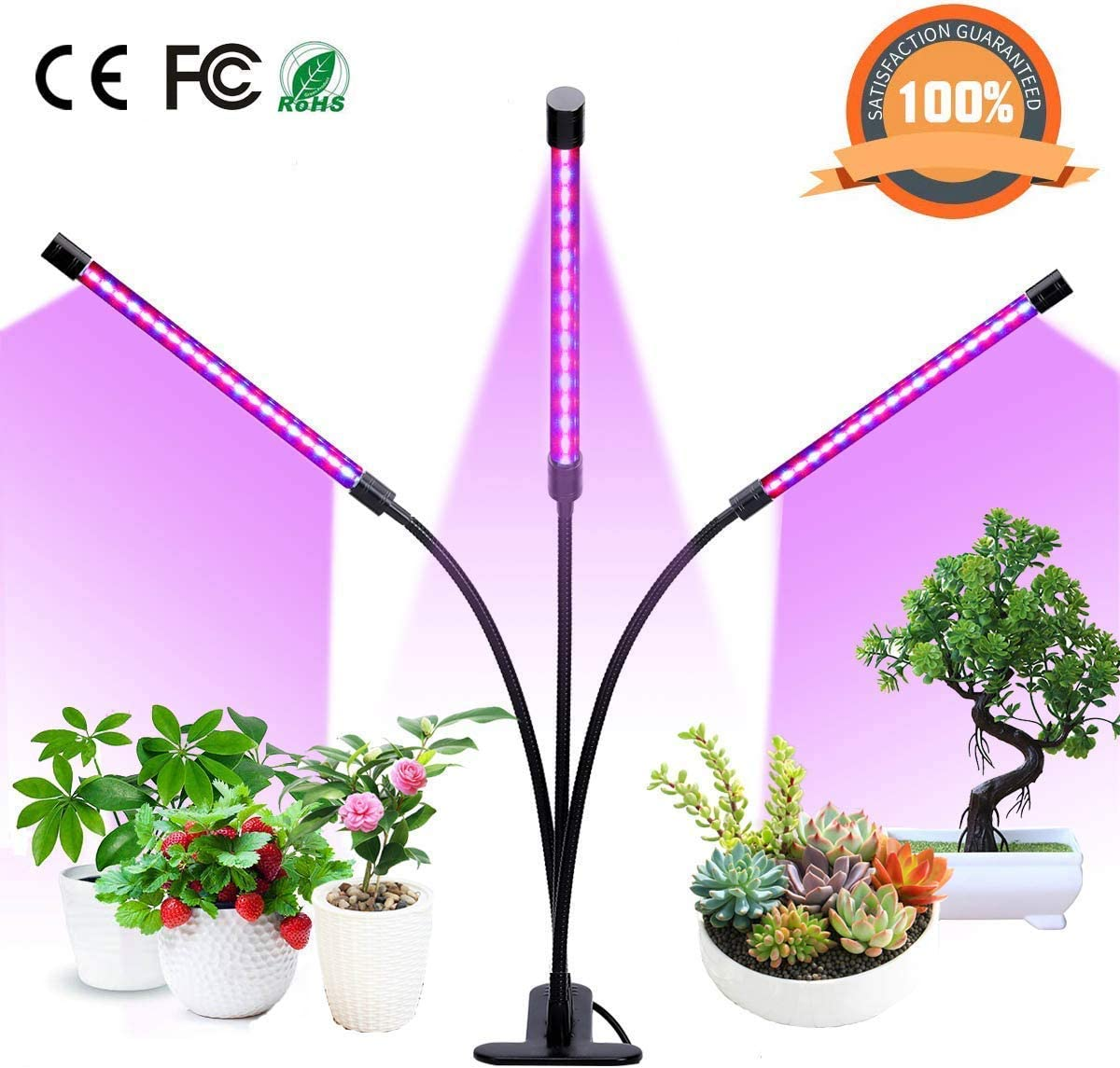 DCLYSI Grow lights,27W LED Plant Grow Lamp Bulbs, Auto ON Off with 3 6 12H Timer 5 Dimmable Levels Clip-On Desk Plant Grow Lights for Indoor Plants,Succulents,Hydroponics,Greenhouse,Garden