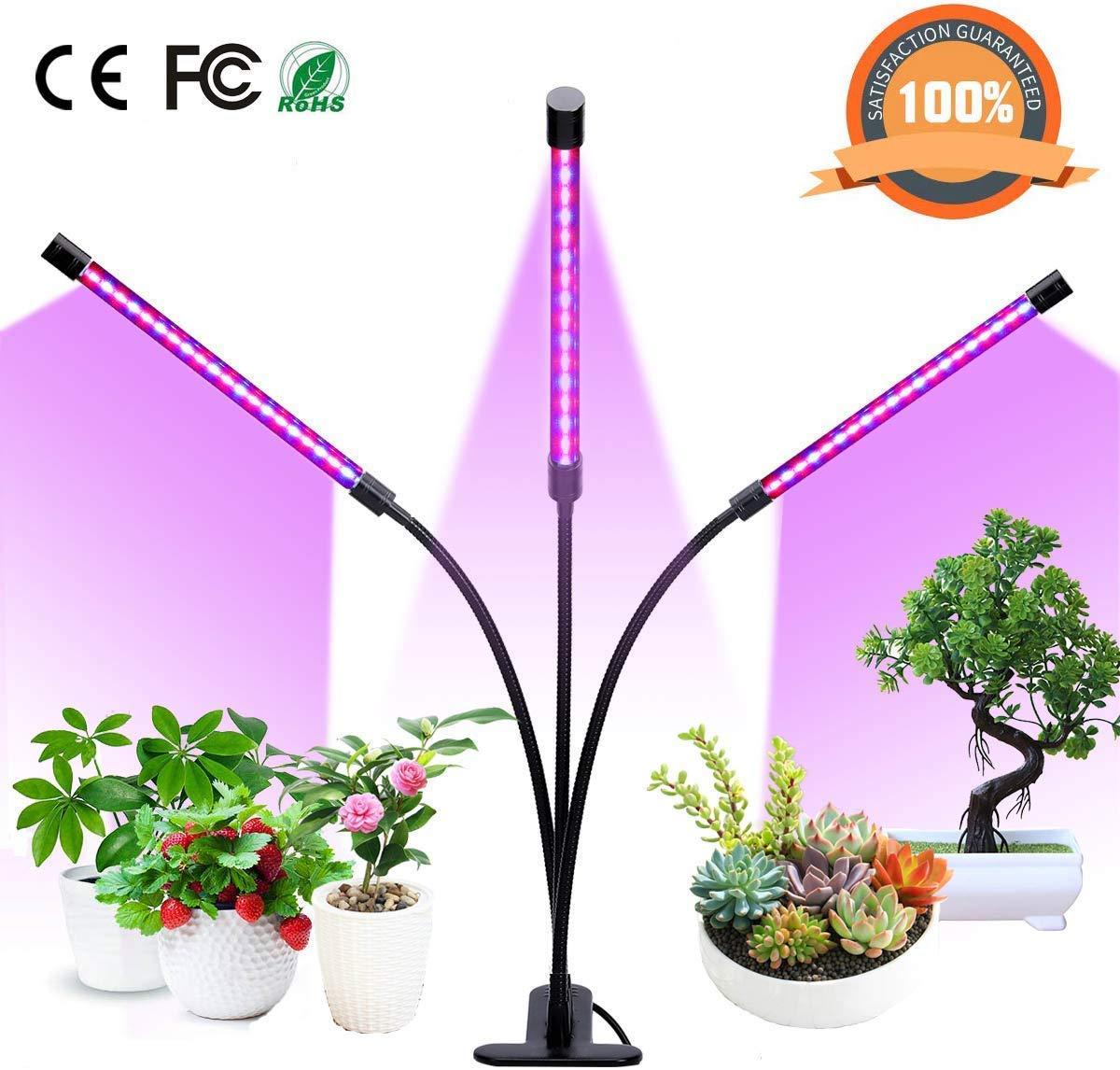 Dclysi Grow Lights 27w Led Plant Grow Lamp Bulbs Auto On Off With 3 6 12h Timer 5 Dimmable Levels Clip On Desk Plant Grow Lights For Indoor