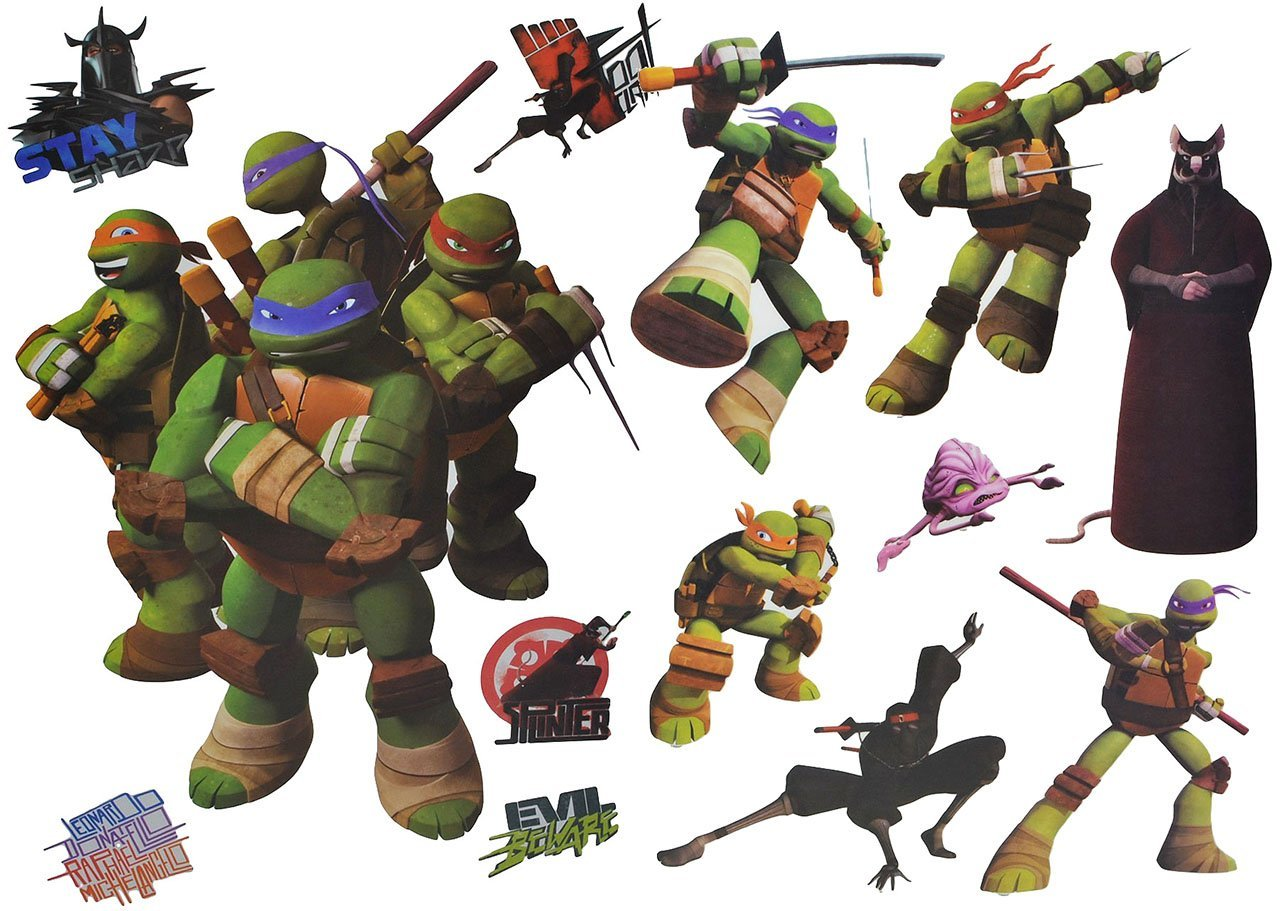 13 tlg. Set: Wandtattoo / Sticker + Fensterbilder - Teenage Mutant Ninja Turtles - Wandsticker Aufkleber für Kinderzimmer - Jungen Hero Comic Schildkröten Kinder - Wandaufkleber + Fenstersticker Kinder-land