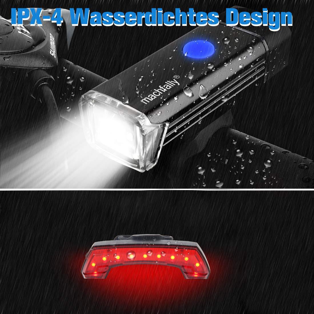 WATERFLY LED Fahrradlicht Set Wasserdichte Multifunktions LED Fahrrad Licht Set f/ür Outdoor Mountain Road Bike Fahrradbeleuchtung USB Wiederaufladbare Fahrrad Scheinwerfer mit LED R/ücklicht