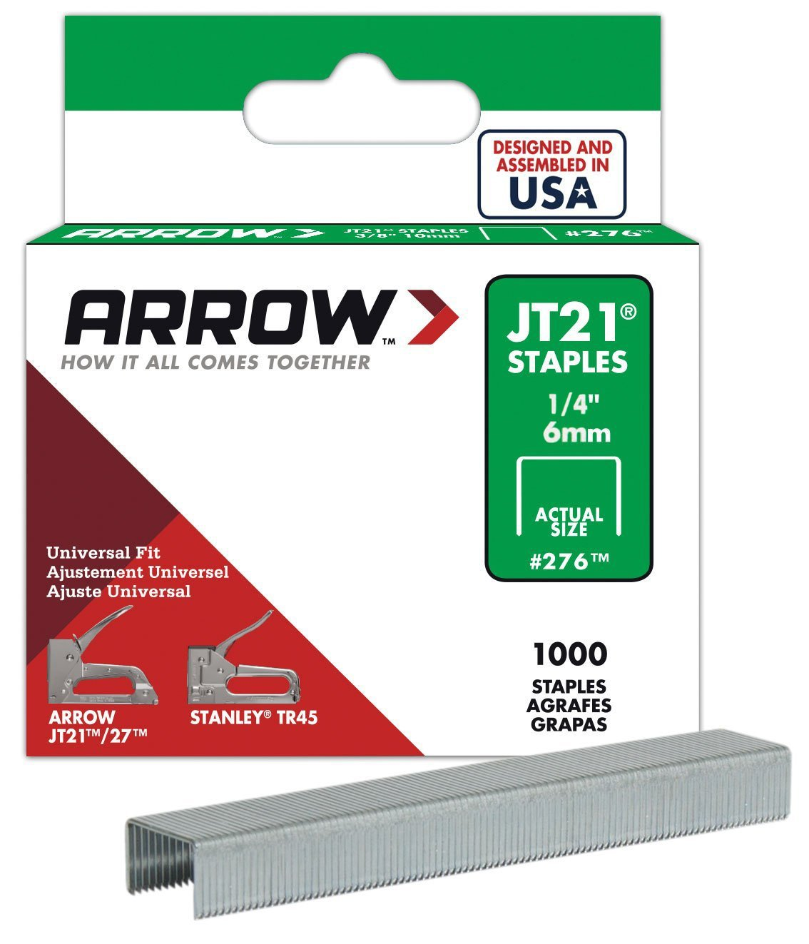 Arrow Fastener 214 Genuine JT21/T27 1/4-Inch Staples, 1,000-Pack