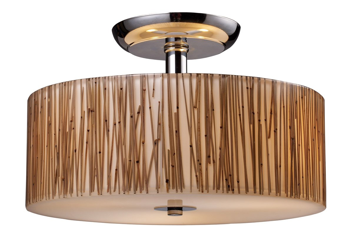 Elk 19065/3 Modern Organics 3-Light Semi-Flush In Bamboo Stem Material In Polished Chrome