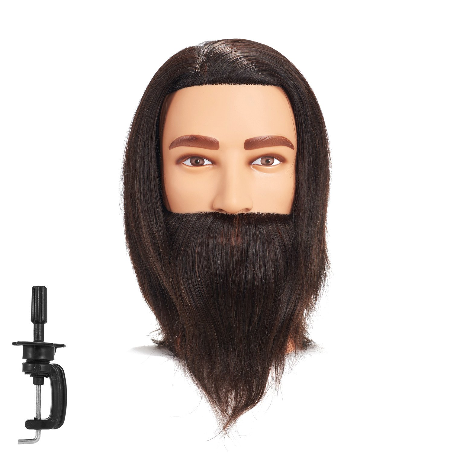 100% Human Hair Male Mannequin Head Hairdresser Training Head Manikin Cosmetology Doll Head for Hair Styling & Practice with free clamp (6RA2002LB0208AH)