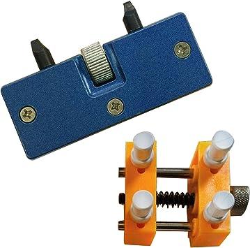 2 PCS Reloj reparación Kit 1 ajustable abridor trasero caso removedor + 1 reloj soporte de fijación soporte a relojero herramientas de reparacion: Amazon.es: Bricolaje y herramientas