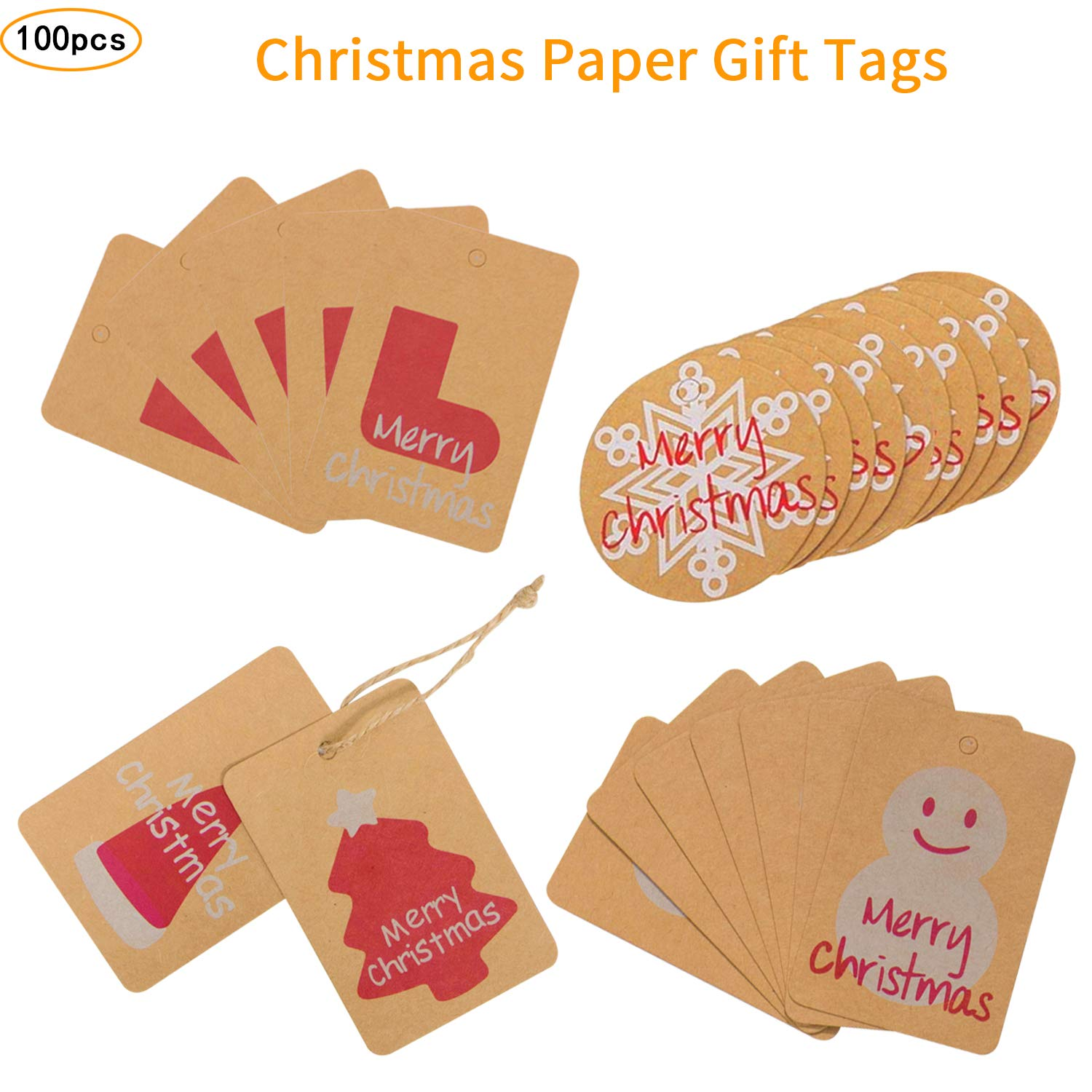 Christmas Gift Tags 100 Pcs,Favor Tags Thank You Gift Tags Place ...