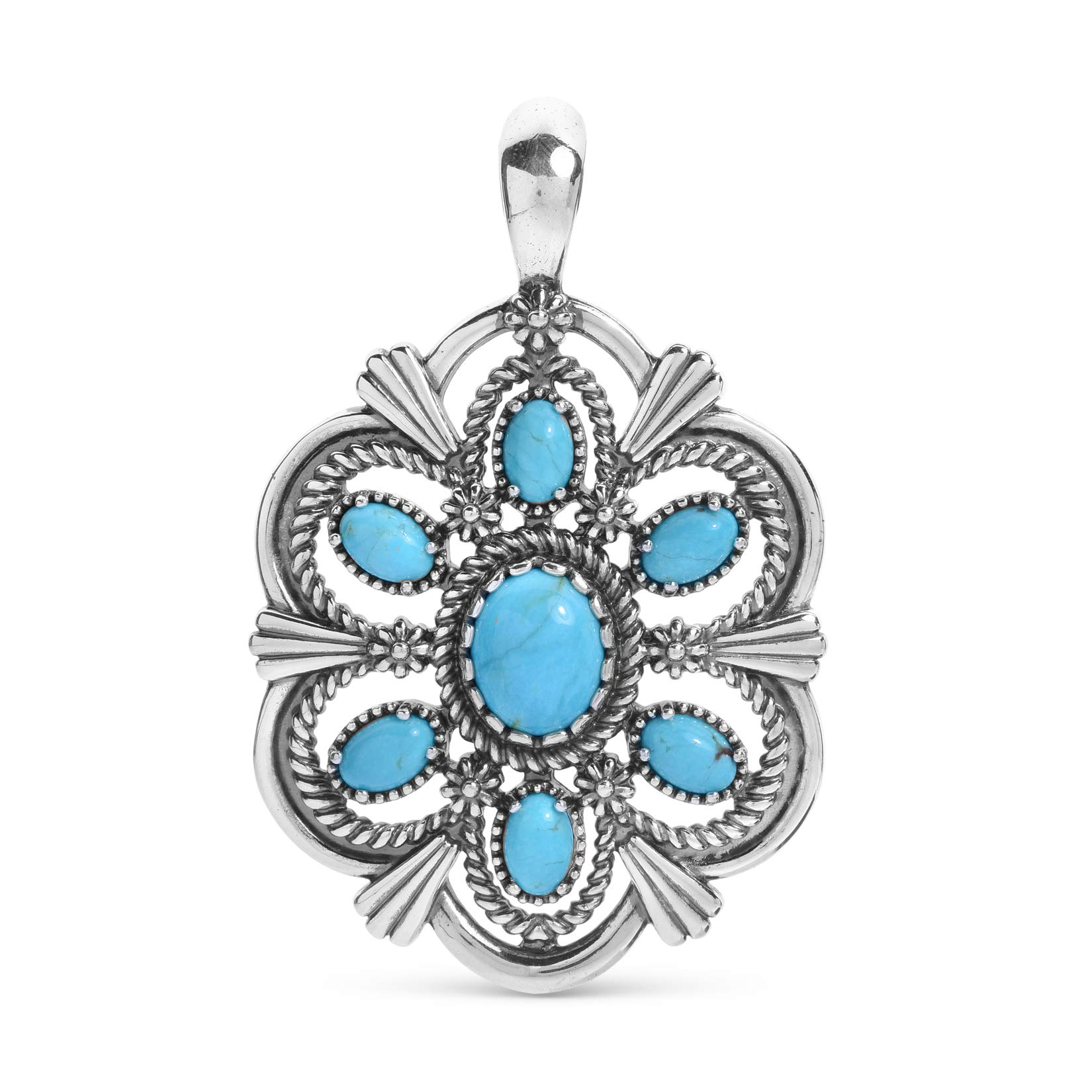 American West Sterling Silver Blue Turquoise Gemstone Scallop Rope and Floral Pendant Enhancer by American West
