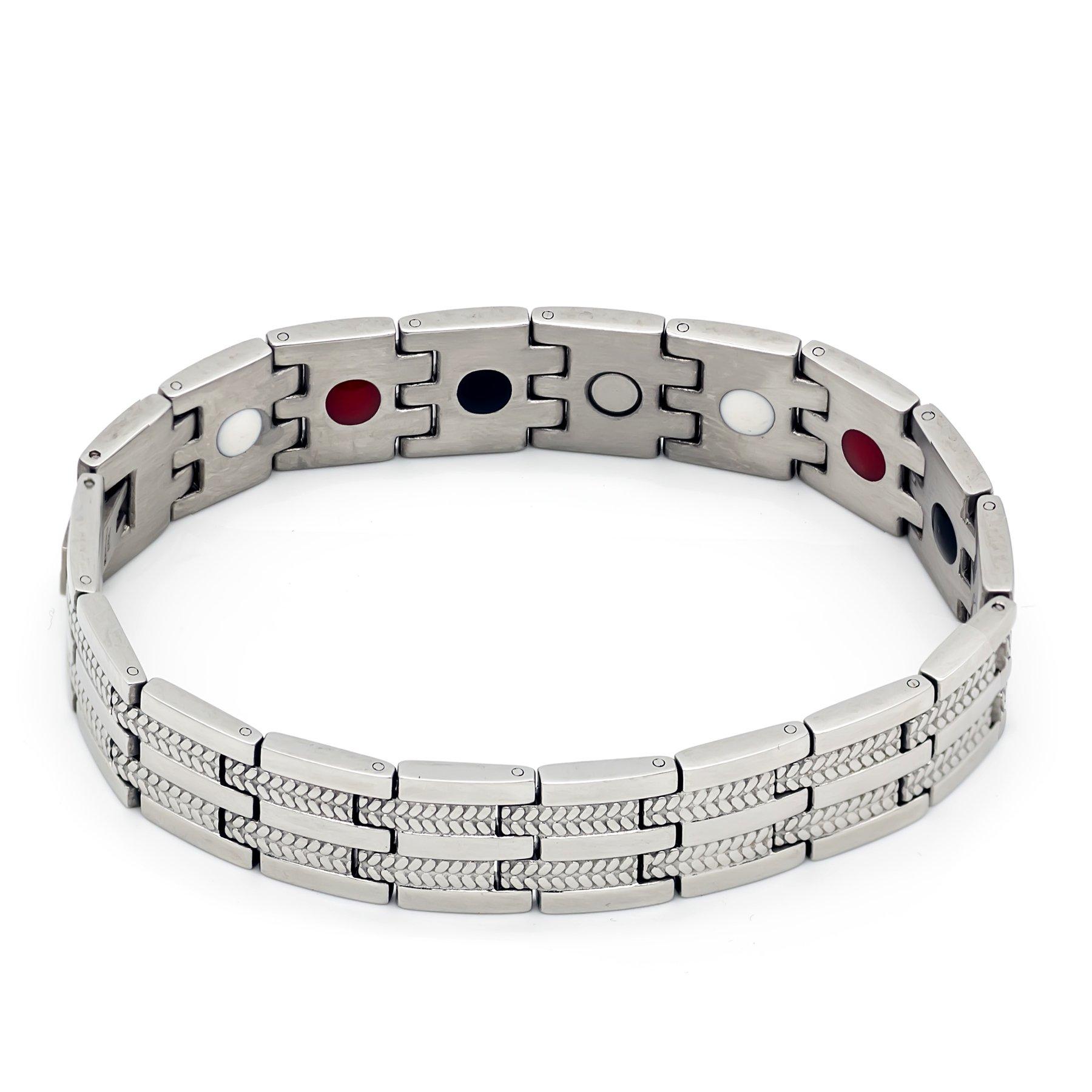 Colorful Bling Healthy Care Magnetic Stainless Steel Bio Germanium Leaves Bracelets Bangles for Men - Sliver