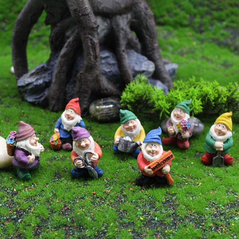 7pcs Garden Gnome Statue,Resin Garden Gnomes Figurine,Outdoor Statue for Patio,Lawn ,Yard Art Decoration