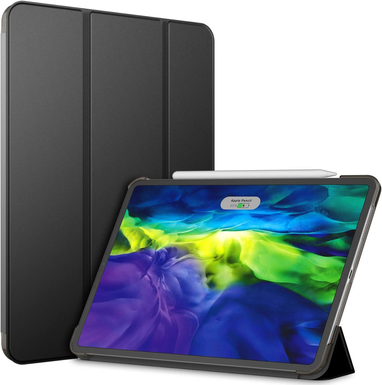 JETech Case for iPad Pro 11 Inch (2nd Generation, 2020 Model), Compatible with Pencil, Cover Auto Wake/Sleep, Black
