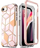 Popshine Marble Designed Case for iPhone SE 2020 (2nd Gen), iPhone 8, iPhone 7, Premium Hybrid Stylish Full Body Protective Flexible TPU Bumper Case with Built-in-Screen Protector, Liquid Marble Pink