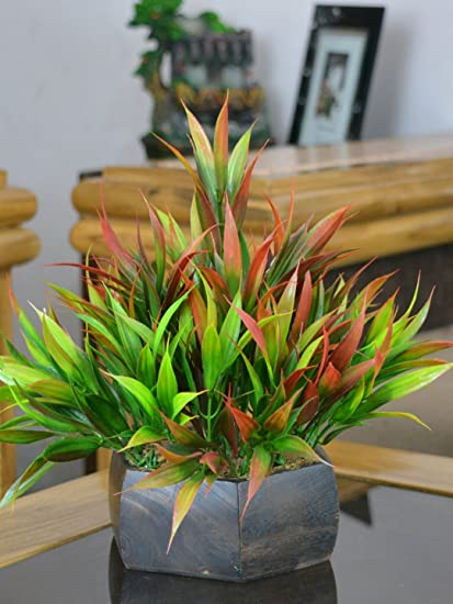 ba2620a2e05c Buy Fancy Mart Artificial Bamboo Leaves Plant (Size 7.5 Inchs  20 cms) With  Wood Hexagun Pot-1382 Online at Low Prices in India - Amazon.in