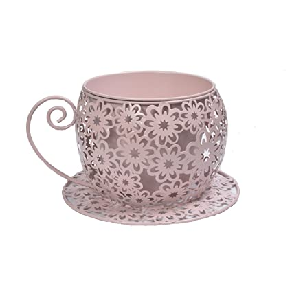 Buy Scrafts Cup Saucer Flower Pink Small Metal Vase For Office Table Mesmerizing Decorative Cups And Saucers