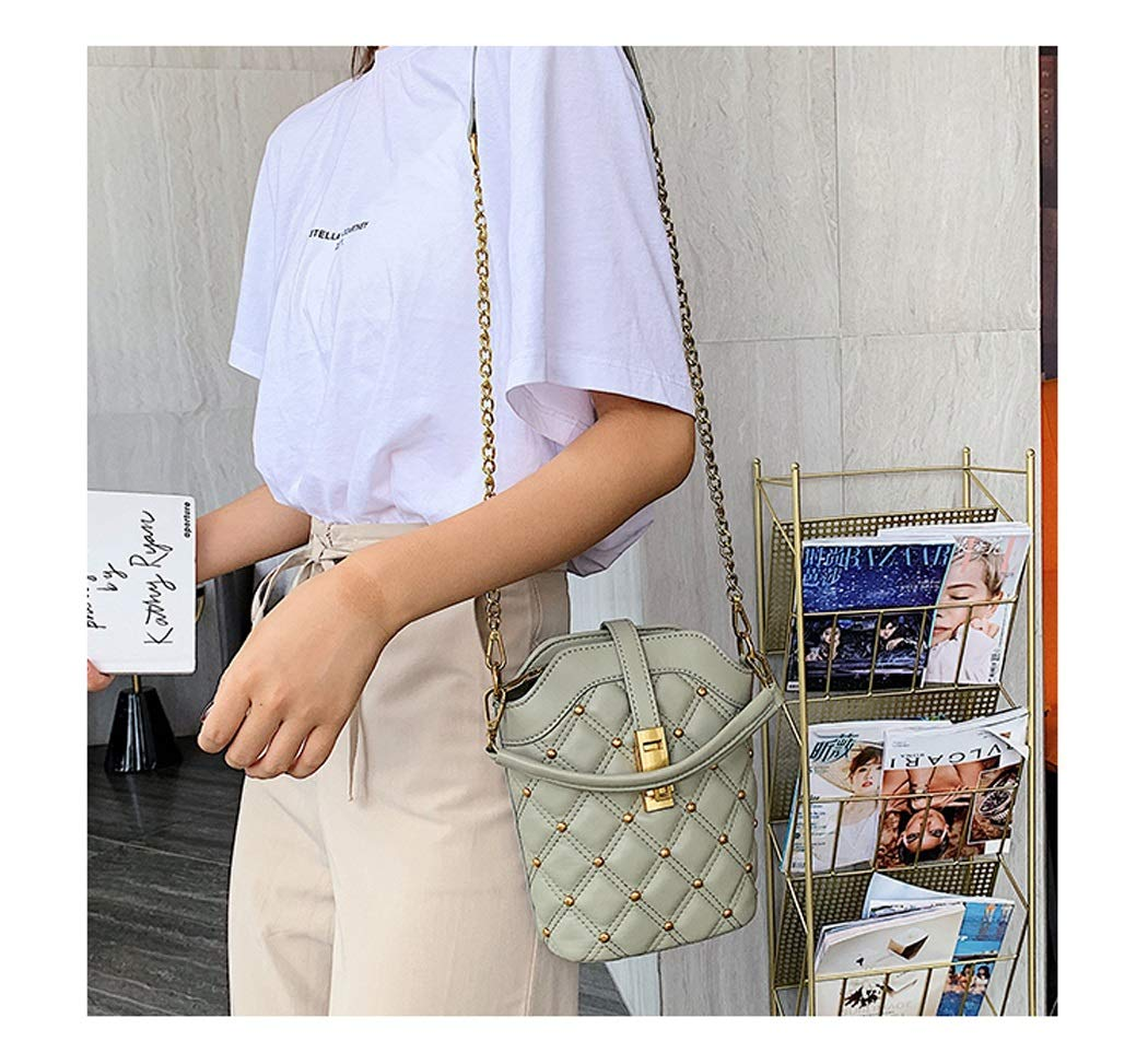 Color : Green, Size : 1817208cm OUSHINA Summer Small Fresh Messenger Bag Net Red Bag Texture One Shoulder Wild Bucket Bag