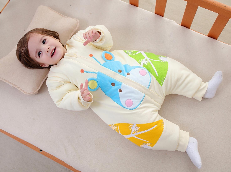 987e044d0 BEIFANCHEN - Infantil Mono Saco de Dormir Algodón Grueso Invierno con Pies  Mangas Desmontables para Bebé con Cremallera Pijama ...