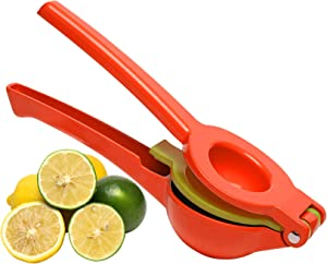 Jahao Lemon Lime Squeezer Manual Citrus Juicer Hand Press, Metal Lemon Juicer Lime Juicer 2-in-1 Citrus Squeezer, Durable and Efficient Manual Press for Extracting Lemon Lime Juice (Red and Yellow)