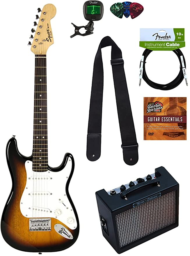 Fender Squier por Fender Stratocaster Guitarra eléctrica Bundle con una para amplificador de guitarra, cable de audio para instrumentos, cuerdas, afinador, ...