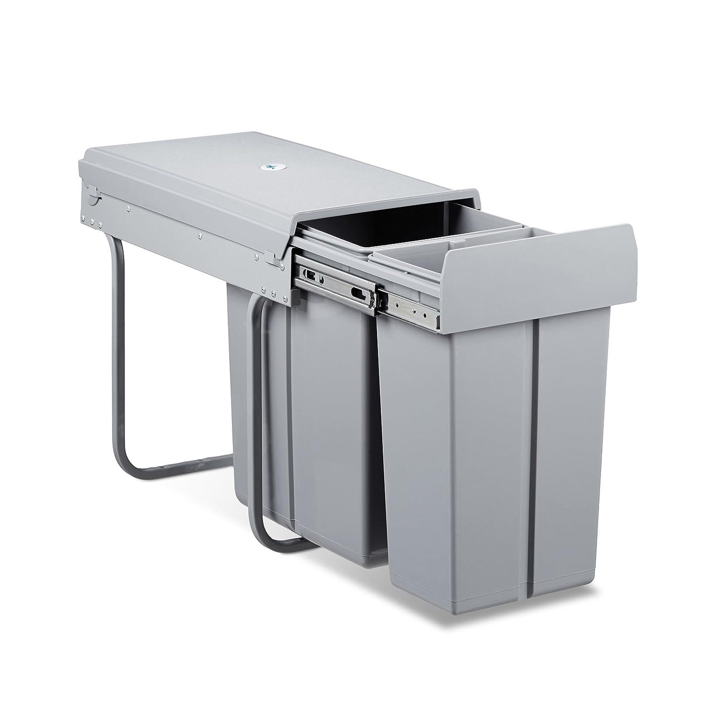 Relaxdays Mülltrennsystem 2 fach, HxBxT: 41,8 x 26 x 48 cm, ausziehbar, 2 Eimer, 30 Liter, für Biomüll, Kunststoff, grau für Biomüll 10021234