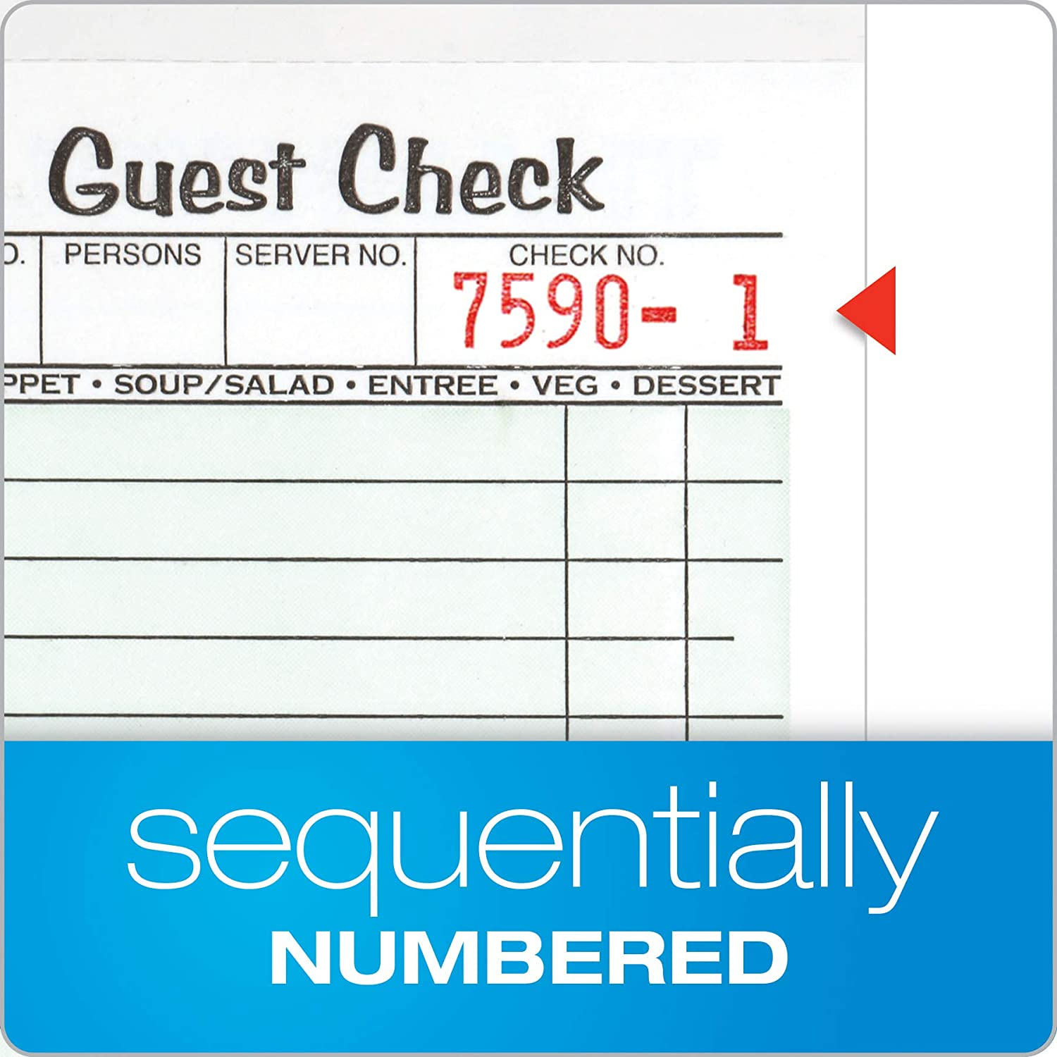 10 Pack Single Part 3-2//5 x 6-1//4 525SW Perforated Guest Receipt 50 Sheets per Pad Adams Guest Check Pads
