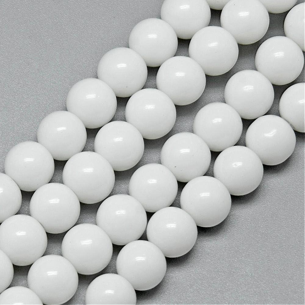 Perlin – Jade perlas semipreciosas 10/8/6/4 mm Opak blanco redondo piedras preciosas cuerda cada Beads Perla para DIY cadena manualidades, Blanco, 4mm 1 Strang