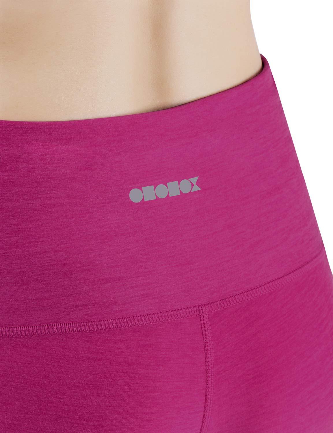 ODODOS High Waist Out Pocket Yoga Capris Pants Tummy Control Workout Running 4 Way Stretch Yoga Leggings,Fuchsia,X-Small by ODODOS (Image #5)