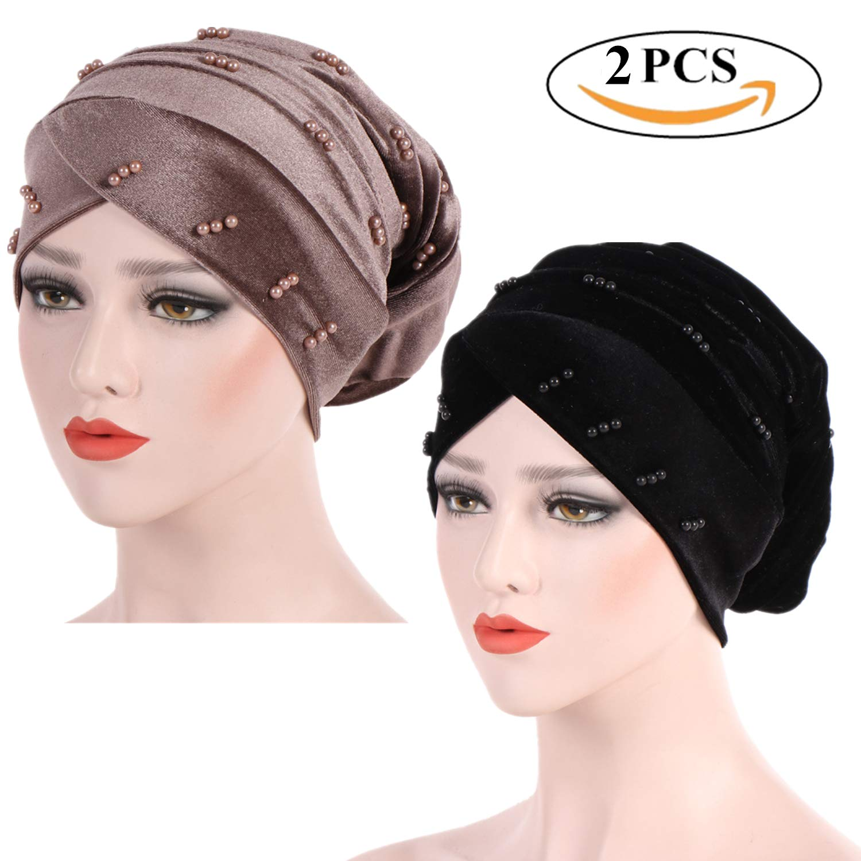 MAIPOETYRY Luxury Beaded Pearled Velvet Long Headwrap Hijab Turban Beanie Headwear