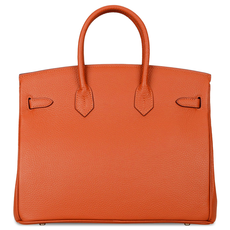 2f4143f884 Amazon.com  SanMario Designer Handbag Top Handle Padlock Women s Leather  Bag with Silver Hardware Orange 30cm 12