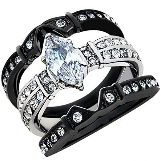 25 Ct Marquise Cut Zirconia Black Stainless Steel Wedding Ring Set Womens Size 5