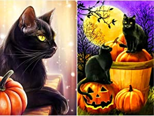 2 Sets Thanksgiving 5D Diamond Painting Pumpkin DIY Number Kits Rhinestone Crystal Embroidery Painting Halloween Pattern Diamond Painting for Craft Home Decor Black Cat Pumpkin Pattern, 12 x 16 Inch