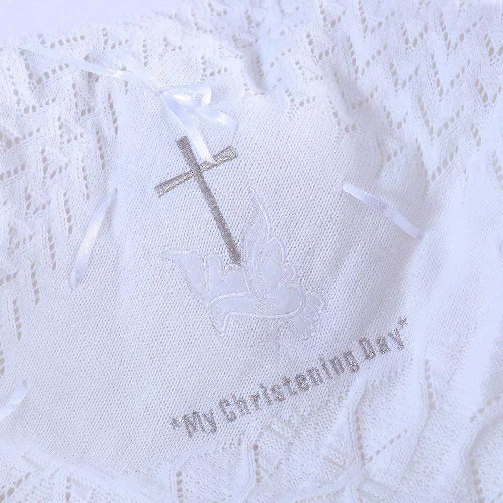 LARGE /'MY CHRISTENING DAY/' WHITE CREAM SATIN BIB WITH EMBROIDERY UNISEX BOY GIRL