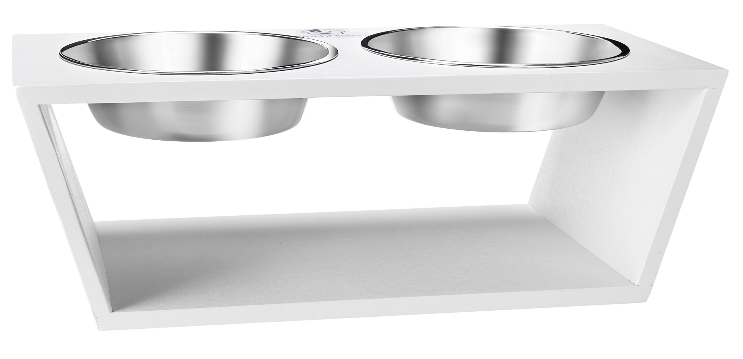 PoochMaison Premium Elevated Double Raised Bowl Stand, Pet Feeder with Two Stainless Steel Bowls. Great for Dogs and Cats. (Medium, White)
