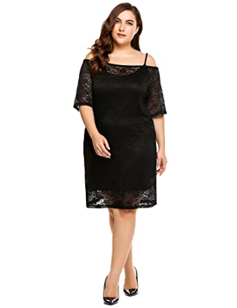 4134c8ae1ec4e1 Womens Plus Size Bodycon Casual Dress Sexy Camisole Under Dress with Off  Shoulder Lace Cover up