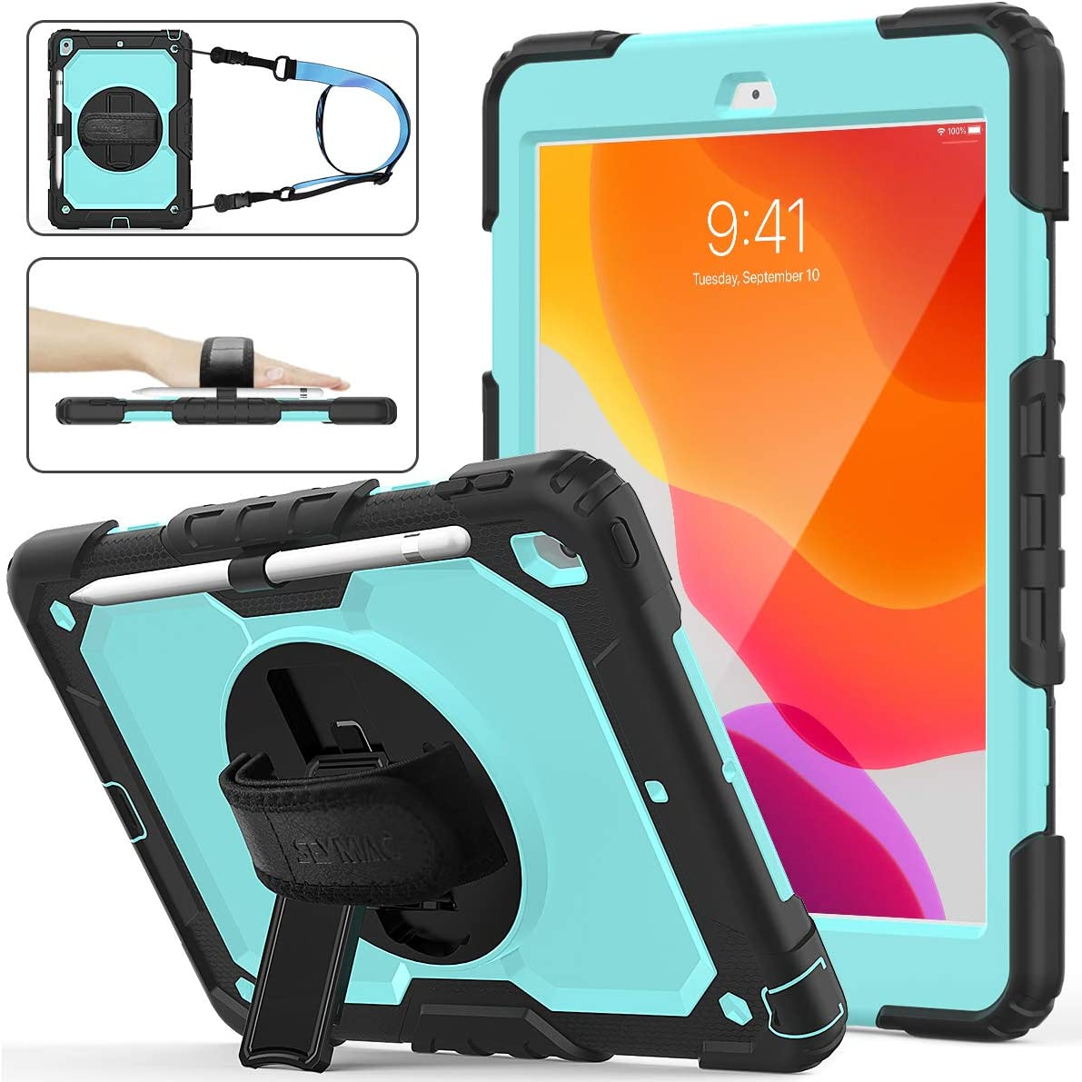 iPad 8th/7th Generation Case, New iPad 10.2 Case [Full-body] & [Shock Proof] Armor Protective Case with 360 Rotating Stand & Strap & Screen Protector for New iPad 8th/7th Gen 2020/2019 (Skyblue+Black)