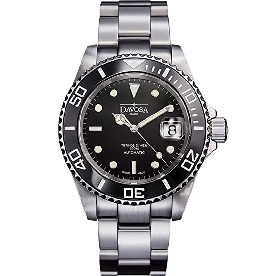 Davosa Ternos suizo 16155550 Diver Analógico hombres reloj de pulsera banda de acero negro cara: Amazon.es: Relojes